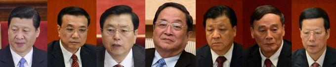AFP/Scanpix nuotr./Politbiuro nariai (ia kairės)  Xi Jinpingas, Li Keqiangas, Zhangas Dejiangas, Yu Zhengshengas, Liu Yunshanas, Wangas Qishanas ir Zhangas Gaoli.