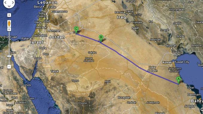 Google Maps nuotr./Greitkelis ia Jordanijos į Bahreiną