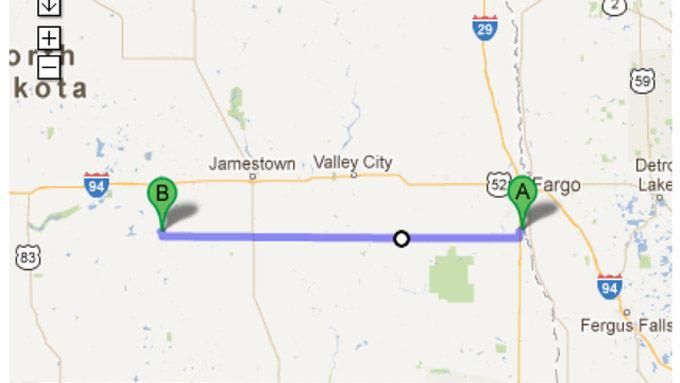 Google Maps nuotr./Greitkelis `iaurės Dakotoje