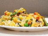 Autorės nuotr./Žuvies apkepas su ryžiais ir daržovėmis