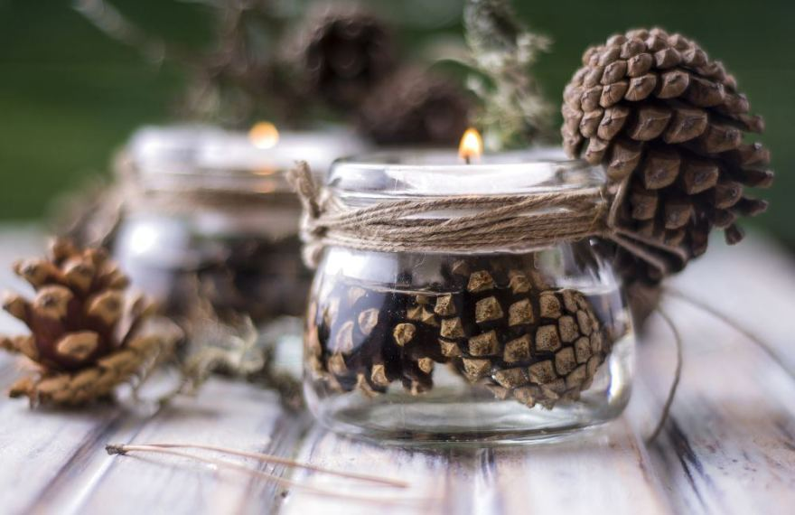 Fotolia nuotr./Kankorėžiais dekoruotos žvakidės