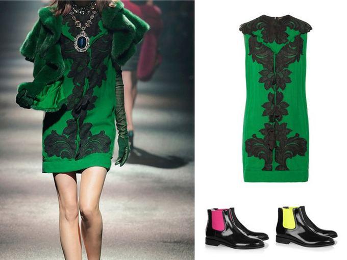 Lanvin suknelė, Christopher Kane batai.