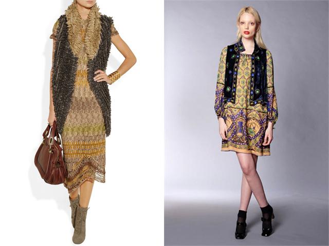 Net-a-porter nuotr./Bohemiakas įvaizdis: suknelė ir liemenė. Ia kairės: Missoni