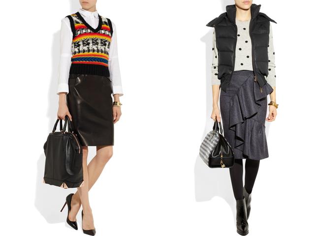 Net-a-porter nuotr./Drąsi klasika: klasikinis juodas sijonas ia odos, marakiniai arba megztinis ir liemenė. Ia kairės: Joseph