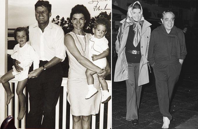 Scanpix nuotr./Kairėje Jacqueline Kennedy su pirmuoju vyru JAV prezidentu Johnu Kennedy, deainėje su kitu vyru Aristotle Onassiu.