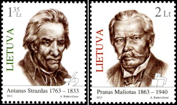 Pašto ženklai su Antanu Strazdu ir Pranu Mašiotu