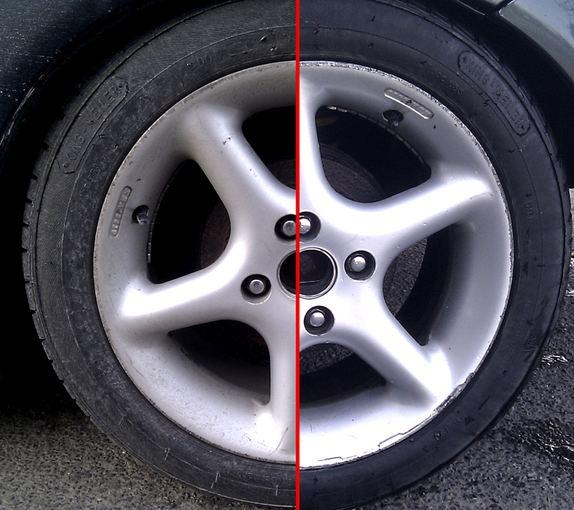 Pauliaus Sviklo/GAZAS.LT nuotr./Automobilio padanga prieš blizginimą (kairėje) ir po blizginimo