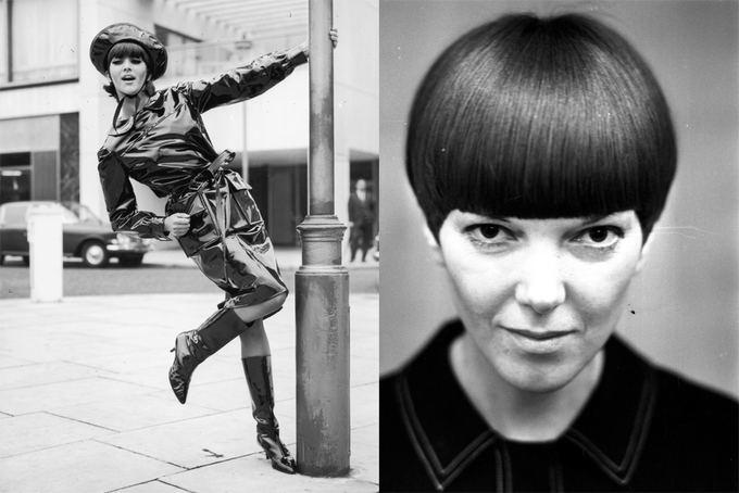 All Over Press nuotr. / Ia kairės: manekenė Jackie Bowyer pozuoja su juodu odiniu blizgančiu lietpalčiu ia Mary Quant kolekcijos. Deainėje: dizainerė Mary Quant, viena ryakiausių septinto deaimtmečio britų mados žvaigždių. Ronald Dumont portretas, darytas 1964 m. lapkričio 13 d.