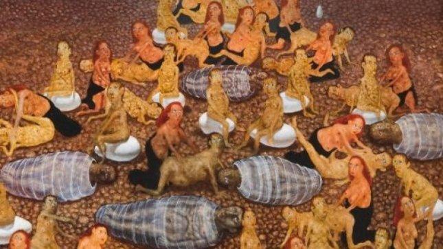 """Š. Saukos paveikslo """"Populiacija"""" (1995) fragmentas"""