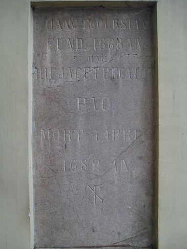 Mykolo Kazimiero Paco atminimo lenta `. Petro ir Povilo bažnyčioje Vilniuje