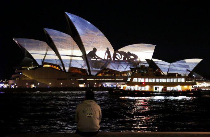 Projekcija ant Sidnėjaus operos teatro