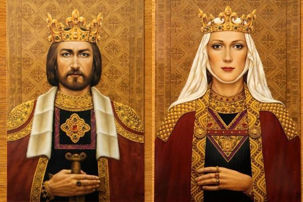 Dailininkės Janinos Malinauskaitės tapyba/Karalius Mindaugas ir jo žmona Morta