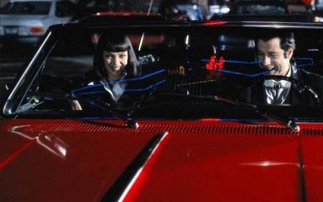 """Filmo anonso stop kadras/1965 metų laidos automobilis """"Chevrolet"""" filme """"Bulvarinis skaitalas"""""""