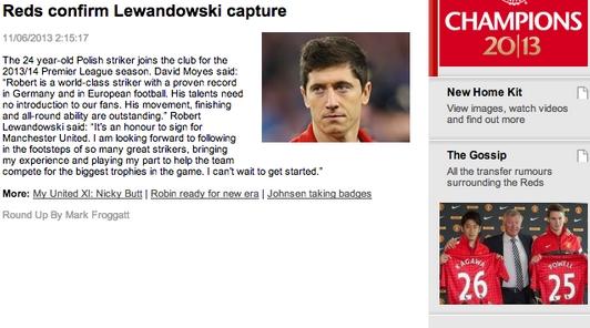 manutd.com nuotr./Naujiena apie Robertą Lewandowskį