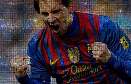 Lionelio Messi atvaizdas sudarytas iš Swarovskio kristalų