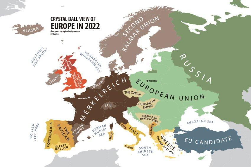 Bulgarų dizainerio Yanko Tsvetskovo sudarytas žemėlapis – prognozė 2022 metams