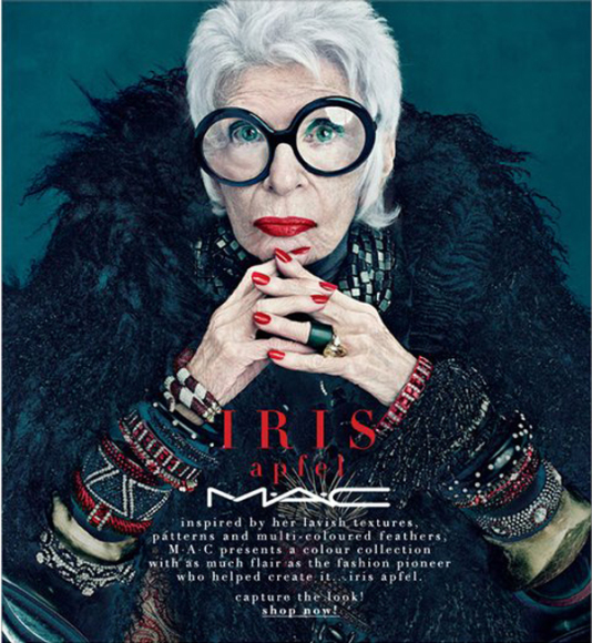 """Mac Cosmetics"" nuotr./Iris Apfel"
