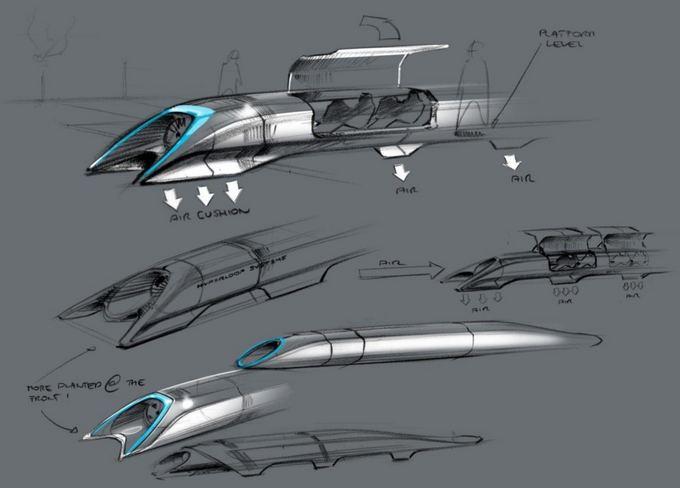 """E.Musko iliustr./Transporto sistema """"Hyperloop"""" keleivius gabentų kapsulėmis, kurios skrietų beveik garso greičiu sumažinto slėgio atmosferoje, palaikomoje sandarių vamzdžių sistemoje."""