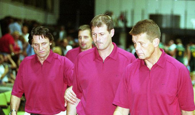 Alfredo Pliadžio nuotr./2003 metų rinktinės treneriai  Valdemaras Chomičius, Gintaras Krapikas ir Antanas Sireika.