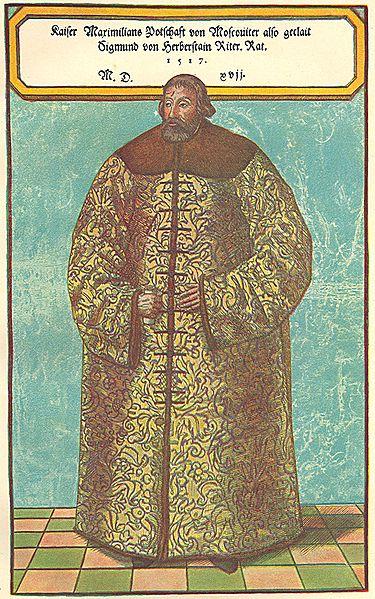 S.Herberšteinas, apsirengęs rusiškais XVI a. drabužiais