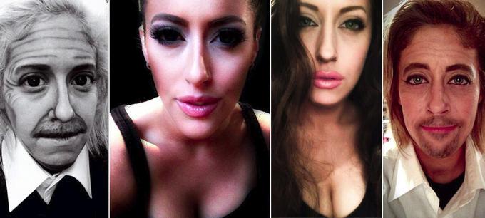 imgur.com nuotr. / Makiažo meistrės Carly Paige darbai (ia kairės): Albertas Einateinas, Kim Kardashian, Angelina Jolie ir Bradas Pittas