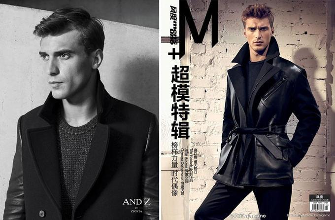 Models.com nuotr./Kairėje: And Z 2013 m. rudens/žiemos reklaminė kampanija. Deainėje: Kinų leidinio Men's Uno China viraelis. 2013 m. ruduo/žiema.