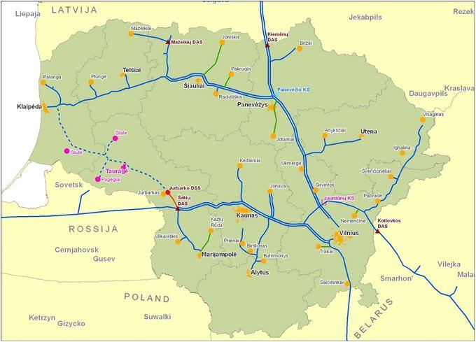 Enmin žemėlapis/Системы передачи и распределения природного газа