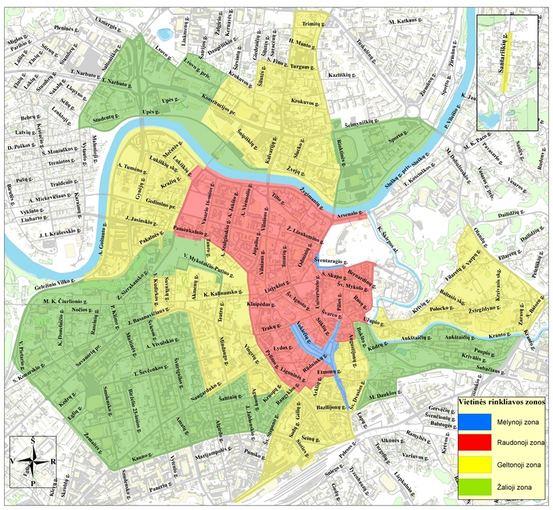 Rinkliavų zonos nuo 2013 m. liepos 1 d.