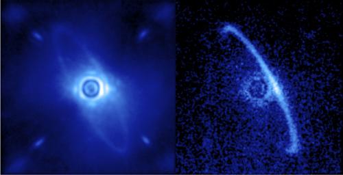 Marshall Perrin, Space Telescope Science Institute/Kairiau – žvaigždės HR4796A vaizdas įprastoje šviesoje, dešiniau – poliarizuotoje šviesoje