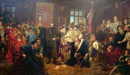 Janas Matejka. Liublino unija. Viena pagrindinių figūrų iš dešinės - M.Radvila Rudasis