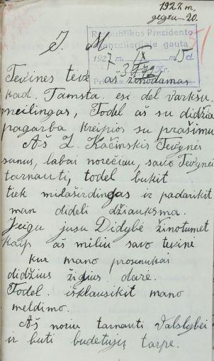 Radviliškiečio Z.Kačinskio laiškas prezidentui A.Smetonai