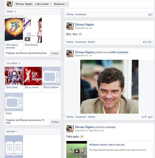 """Vaizdas iš """"Facebook""""/Paskutiniai Ž.Šilgalio įrašai socialiniame tinkle """"Facebook"""""""