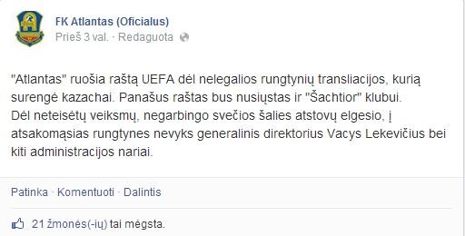"""facebook.com/pages/FK-Atlantas-Oficialus/""""Atlanto"""" žinutė """"Facebook"""""""