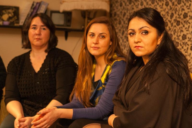"""Filmo """"Pasaulio virtuvė"""" herojės (iš kairės): Marisa Leonavičienė, Alicia Gian, Božena Karvelienė."""