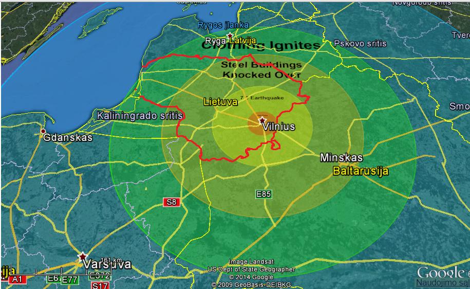 Google Earth rodo, kokį poveikį turėtų į Vilnių atsitrenkęs asteroidas