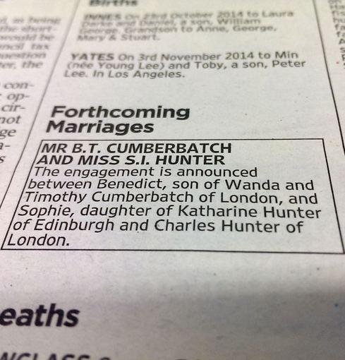 """Scanpix""/""PA Wire""/""Press Association Images"" nuotr./Skelbimas apie Benedicto Cumberbatcho ir Sophie Hunter vestuves"
