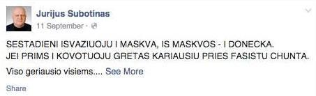 """""""Facebook"""" nuotr./Paraščių veikėjas J.Subotinas viešai teigė, kad neva bandys prisidėti prie prorusiškų separatistų."""