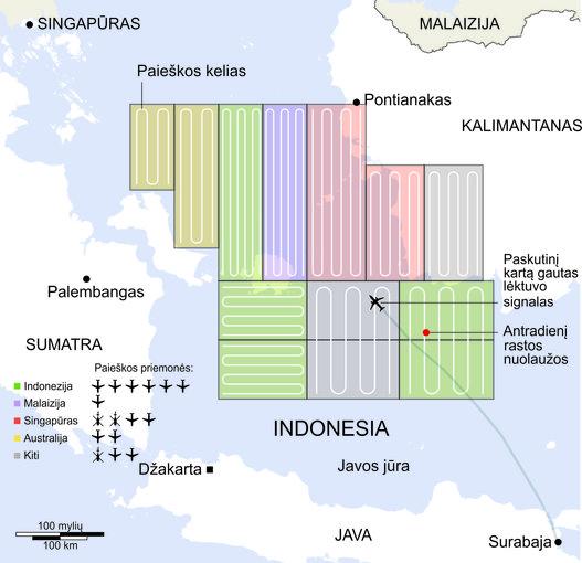 """""""Scanpix""""/""""Reuters""""/""""15min.lt"""" nuotr./""""AirAsia"""" lėktuvo paieškos žemėlapis"""