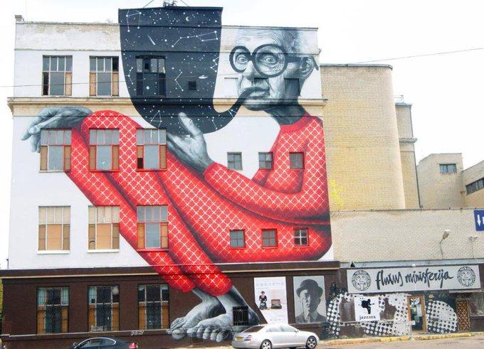 """""""Fluxus ministerija"""" nuotr./""""Fluxus ministerija"""" Kaune veikė pusantrų metų. Šiuo metu likęs tik pastatą puošiantis piešinys."""