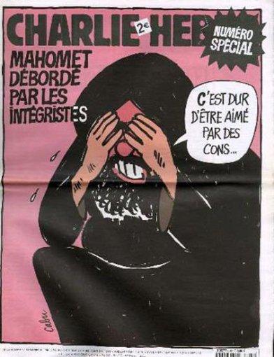 """""""Charlie Hebdo"""" iliustr./2006 m. – Pranašas Mahometas skundžiasi fundamentalistais: """"Sunku, kai tave myli šikniai"""""""