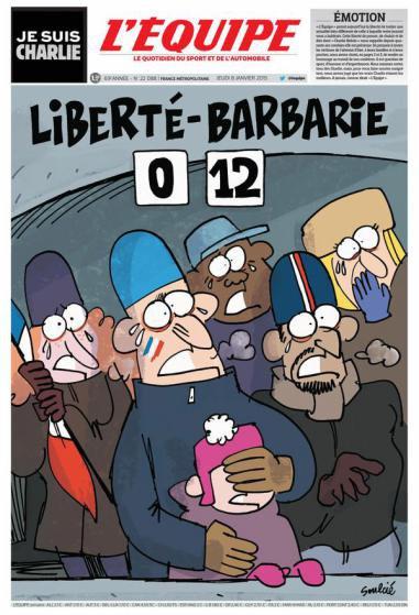 """Europos laikraščių viršeliai: reakcija į žudynes Paryžiuje, """"Charlie Hebdo"""" redakcijoje"""