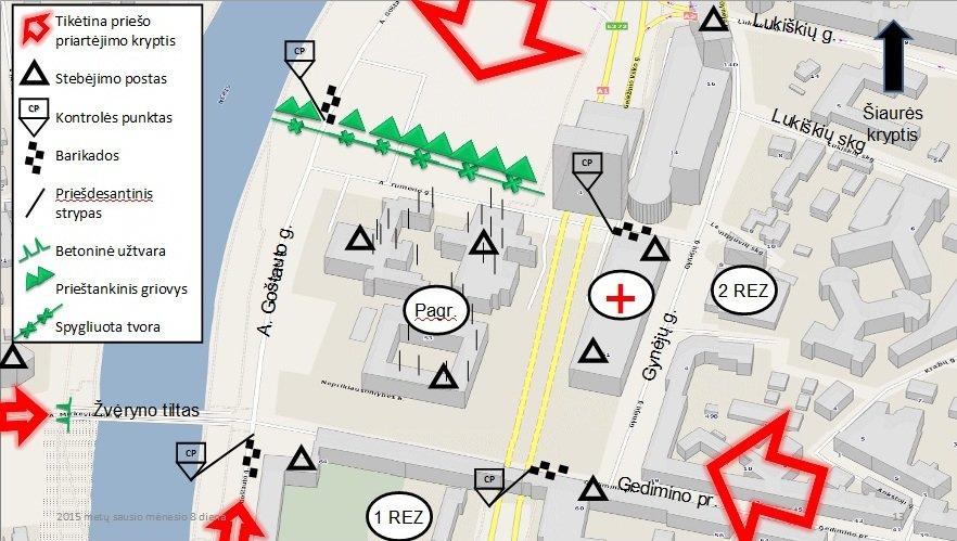 LKA kariūnų parengti Seimo rūmų gynybos planai.