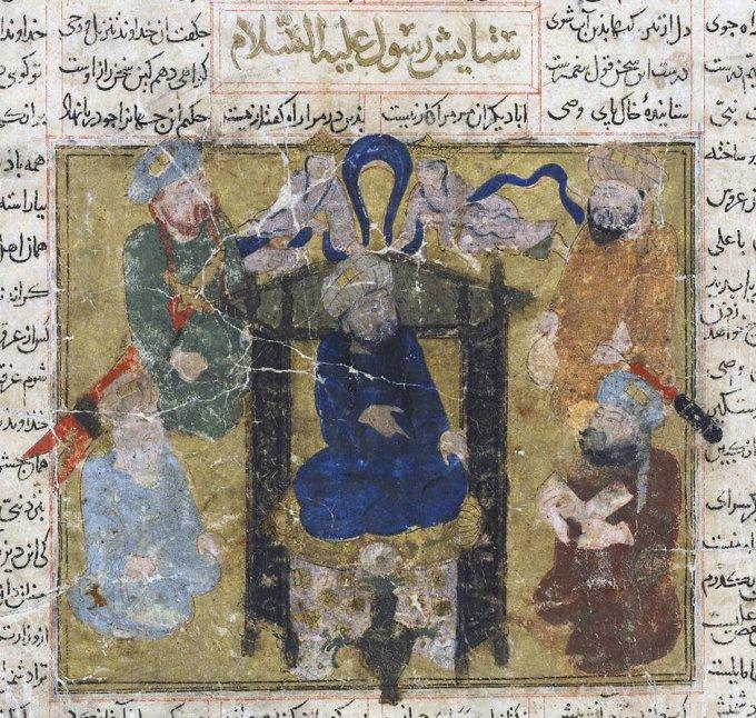 Sacklerio Azijos meno muziejaus iliustr./Piešinys su pranašu Mahometu. XIV a. Iranas