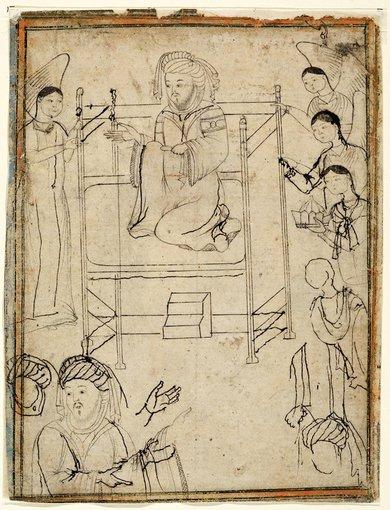 Staatsbibliothek zu Berlin iliustr. /Piešinys su pranašu Mahometu. XIV a. Iranas