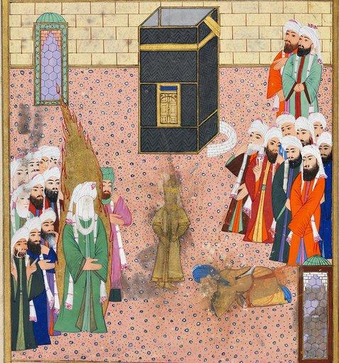 Topkapi rūmų bibliotekos iliustr./Piešinys su pranašu Mahometu. XVI a. Turkija