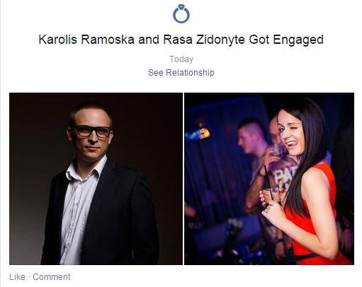 Facebook nuotr./Rasa Židonytė susižadėjo su Karoliu Ramoška