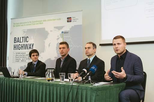 Baltic Highway pristatymo spaudos konferencija. Iš kairės į dešinę: Paulius Jakutavičius,Juozas Rumbutis,  Petras Masiulis, Paulius Mačiulevičius