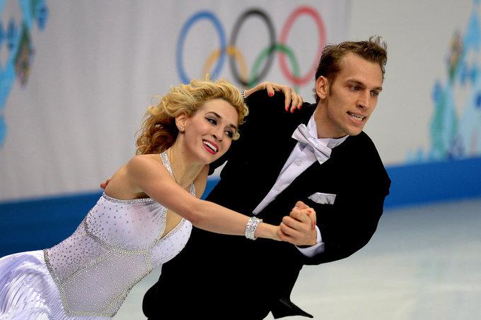 Alfredo Pliadžio nuotr./Isabella Tobias ir Deividas Stagniūnas (2014 m. vasario 16 d.)