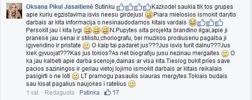 Facebook nuotr./Oksanos Pikul-Jasaitienės pasisakymas dėl plagijavimo
