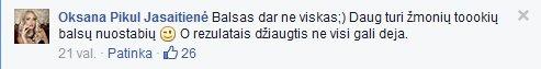 Facebook nuotr./Oksanos Pikul-Jasaitienės pasisakymas